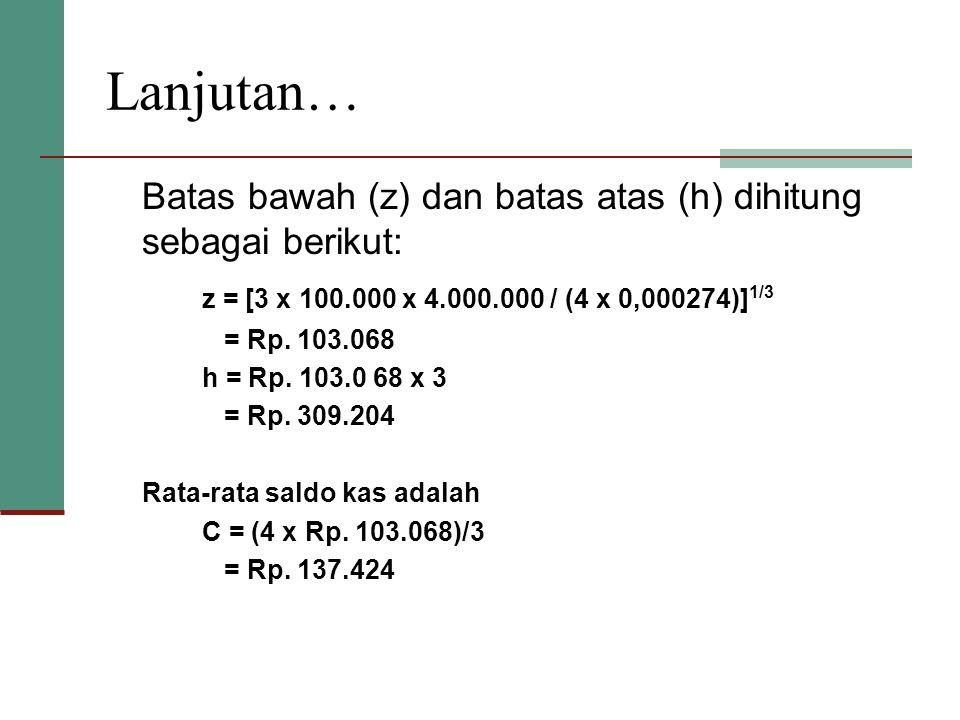 Lanjutan… Batas bawah (z) dan batas atas (h) dihitung sebagai berikut: z = [3 x 100.000 x 4.000.000 / (4 x 0,000274)] 1/3 = Rp. 103.068 h = Rp. 103.0