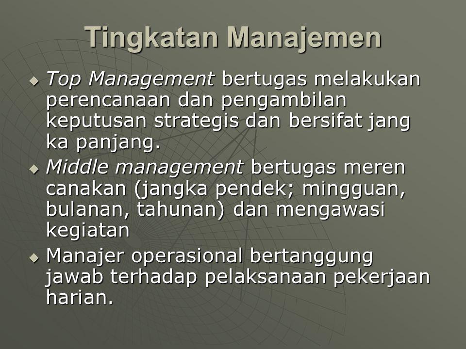  Top Management bertugas melakukan perencanaan dan pengambilan keputusan strategis dan bersifat jang ka panjang.  Middle management bertugas meren c