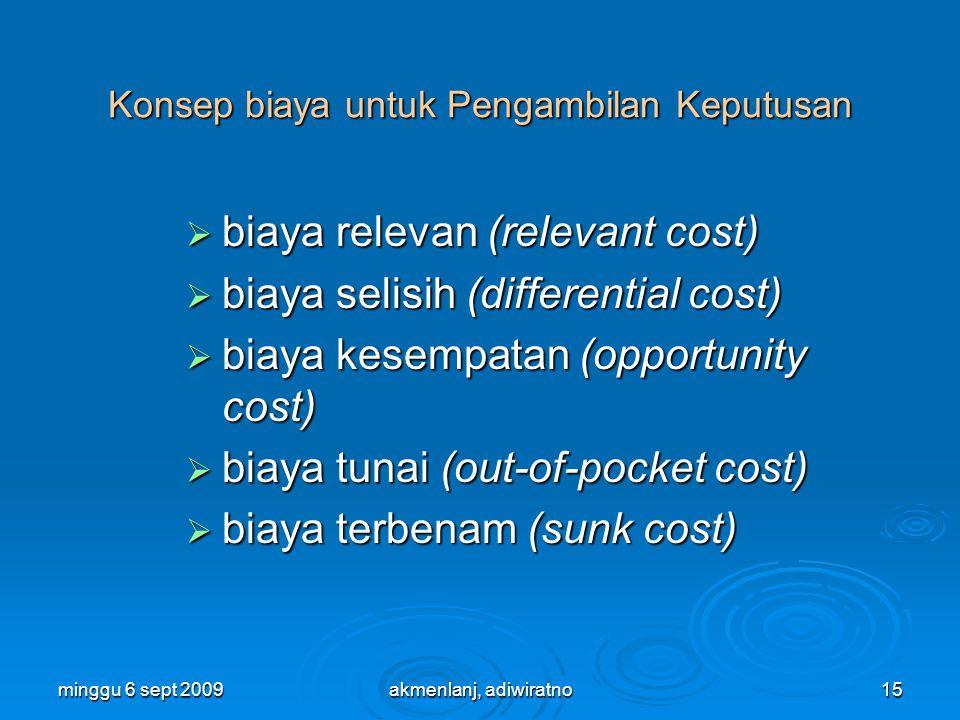 minggu 6 sept 200915 Konsep biaya untuk Pengambilan Keputusan  biaya relevan (relevant cost)  biaya selisih (differential cost)  biaya kesempatan (opportunity cost)  biaya tunai (out-of-pocket cost)  biaya terbenam (sunk cost) akmenlanj, adiwiratno