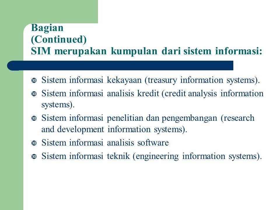 Bagian (Continued) SIM merupakan kumpulan dari sistem informasi:  Sistem informasi kekayaan (treasury information systems).
