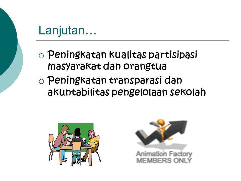Karakteristik Keberhasilan Implementasi MBS •Peningkatan kemandirian sekolah dalam mewujudkan visi dan misi •Peningkatan kualitas kinerja layanan seko