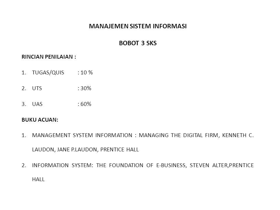 MANAJEMEN SISTEM INFORMASI BOBOT 3 SKS RINCIAN PENILAIAN : 1.TUGAS/QUIS: 10 % 2.UTS: 30% 3.UAS: 60% BUKU ACUAN: 1.MANAGEMENT SYSTEM INFORMATION : MANAGING THE DIGITAL FIRM, KENNETH C.