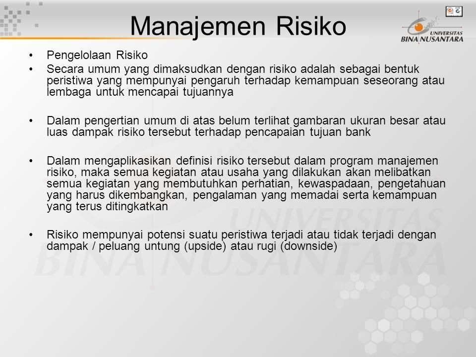 •Pengelolaan Risiko •Secara umum yang dimaksudkan dengan risiko adalah sebagai bentuk peristiwa yang mempunyai pengaruh terhadap kemampuan seseorang a
