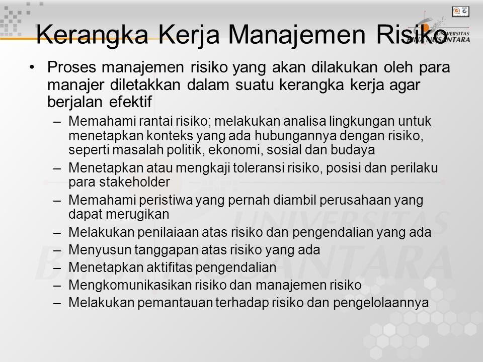 Budaya Manajemen Risiko •Keberhasilan mengkomunikasikan dan mengintegrasikan manajemen risiko dalam sebuah organisasi bank tidak terletak pada tekniknya akan tetapi tergantung pada manusia pengambil dan pengelola risiko tersebut •Ada banyak pegawai, banyak karakter, sikap (attitude) dan keterampilan yang berbeda dalam bank menuntut adanya budaya organisasi dimana setiap orang harus menjadi manajer risiko karena setiap pegawai bertanggung jawab atas kegiatan dan hasil kerjanya •Pengembangan budaya manajemen risiko jauh lebih penting dibandingkan membangun sebuah kebijakan dan prosedur yang paling komplit karena pengelolaan risiko harus di implantasikan kepada setiap orang dari jenjang paling bawah sampai pada jenjang paling atas