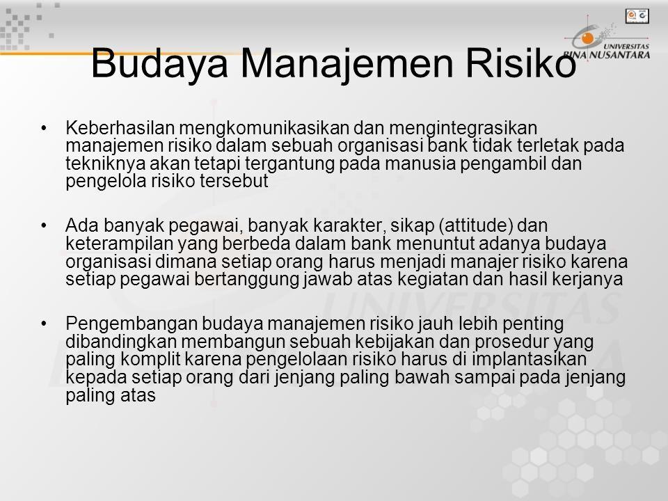 •Langkah untuk membangun budaya risiko: –Membentuk Satuan Kerja Manajemen Risiko sebagai pusat untuk membangun dan menyebarluaskan kebijakan dan prosedur risiko keseluruh jenjang organisasi –Menyusun manual kode etik –Merekrut pegawai yang memiliki sikap yang baik untuk memberikan pelayanan yang terbaik –Menjadikan manajemen risiko sebagai syarat untuk menduduki semua posisi manajemen –Menerapkan sanksi bagi pelaksana atau pengambil risiko –Memberikan insentif guna mendorong pegawai mengelola risiko dengan baik –Menerapkan seperangkan aturan agar pegawai tidak berani mengambil risiko yang berlebihan –Memasukkan penilaian kinerja mengelola risiko kedalam proses penilaian kinerja pegawai