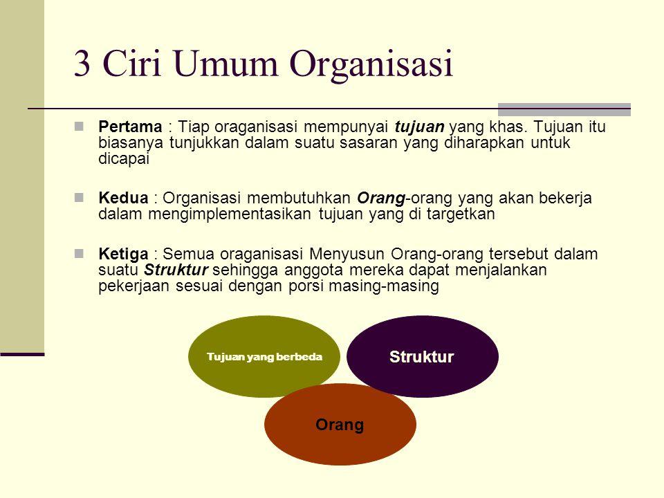 3 Ciri Umum Organisasi  Pertama : Tiap oraganisasi mempunyai tujuan yang khas. Tujuan itu biasanya tunjukkan dalam suatu sasaran yang diharapkan untu