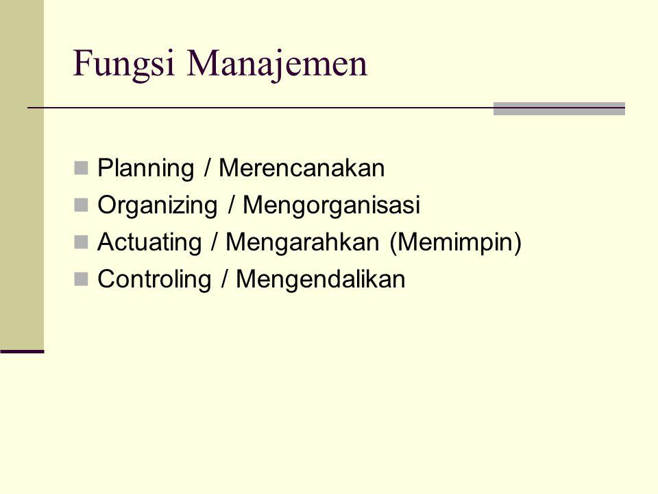 Fungsi Manajemen  Planning / Merencanakan  Organizing / Mengorganisasi  Actuating / Mengarahkan (Memimpin)  Controling / Mengendalikan