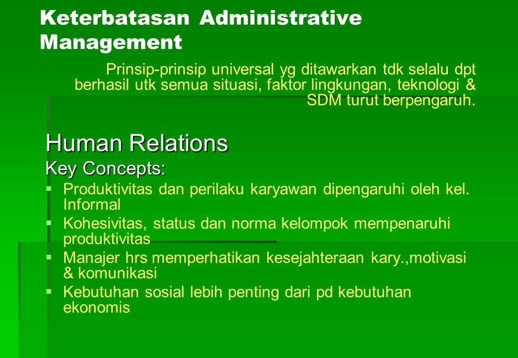 Keterbatasan Administrative Management Prinsip-prinsip universal yg ditawarkan tdk selalu dpt berhasil utk semua situasi, faktor lingkungan, teknologi
