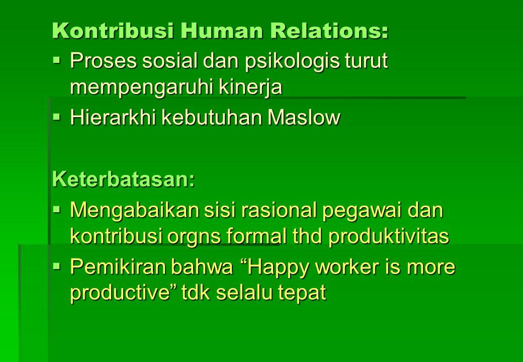 Kontribusi Human Relations:  Proses sosial dan psikologis turut mempengaruhi kinerja  Hierarkhi kebutuhan Maslow Keterbatasan:  Mengabaikan sisi ra