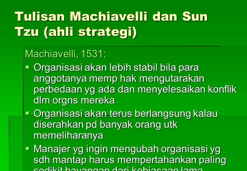 Tulisan Machiavelli dan Sun Tzu (ahli strategi) Machiavelli, 1531:  Organisasi akan lebih stabil bila para anggotanya memp hak mengutarakan perbedaan