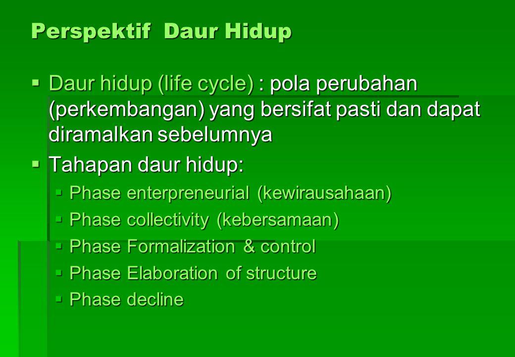 Perspektif Daur Hidup  Daur hidup (life cycle) : pola perubahan (perkembangan) yang bersifat pasti dan dapat diramalkan sebelumnya  Tahapan daur hid