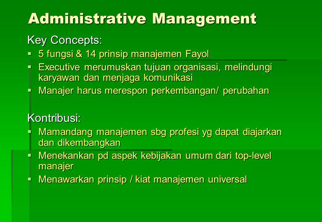 Administrative Management Key Concepts:  5 fungsi & 14 prinsip manajemen Fayol  Executive merumuskan tujuan organisasi, melindungi karyawan dan menj