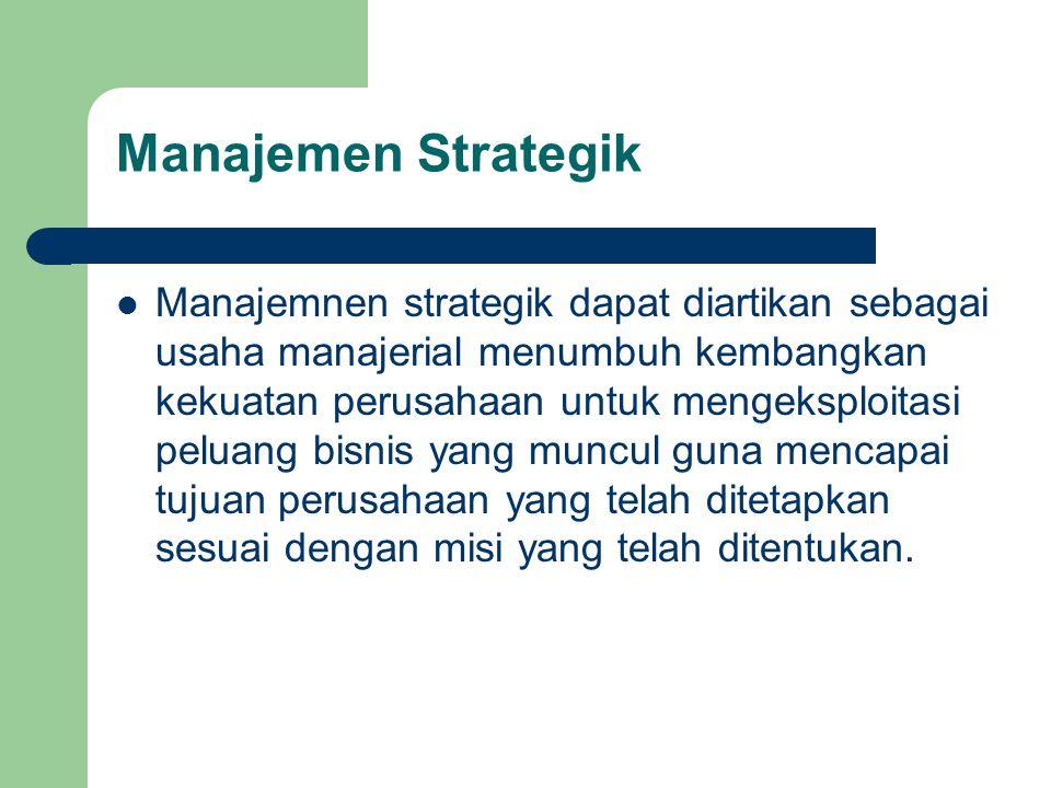 Manajemen Strategik  Manajemnen strategik dapat diartikan sebagai usaha manajerial menumbuh kembangkan kekuatan perusahaan untuk mengeksploitasi pelu