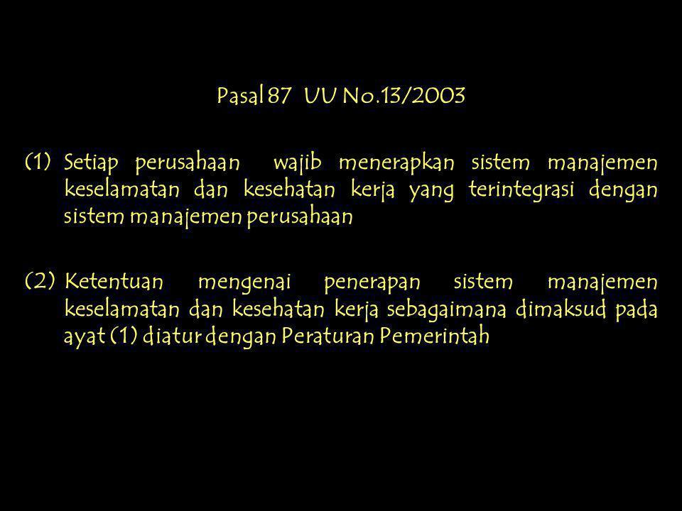 Pasal 86 UU No.13/2003 (1)Setiap pekerja/buruh mempunyai hak untuk memperoleh perlindungan atas : a. keselamatan dan kesehatan kerja; b. moral dan kes