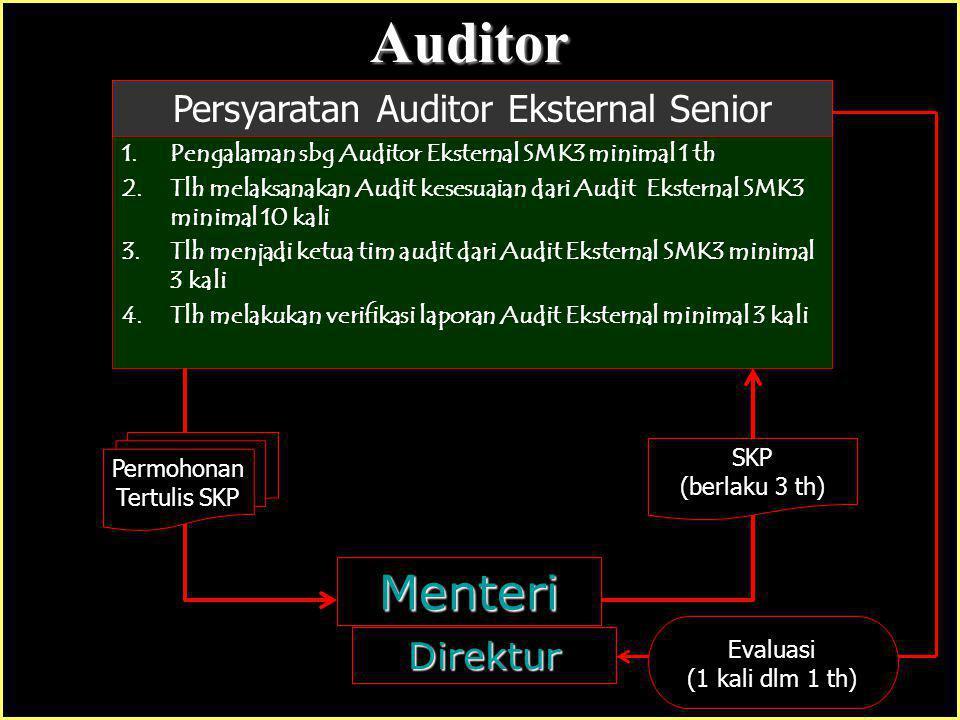 Badan Audit : 1.Status Perusahaan BUMN atau Swasta Nasional 2.Memiliki Kacab di Tk Propinsi 3.Memiliki bukti Wajib Lapor Ke-TK-an 4.Memiliki minimal 1