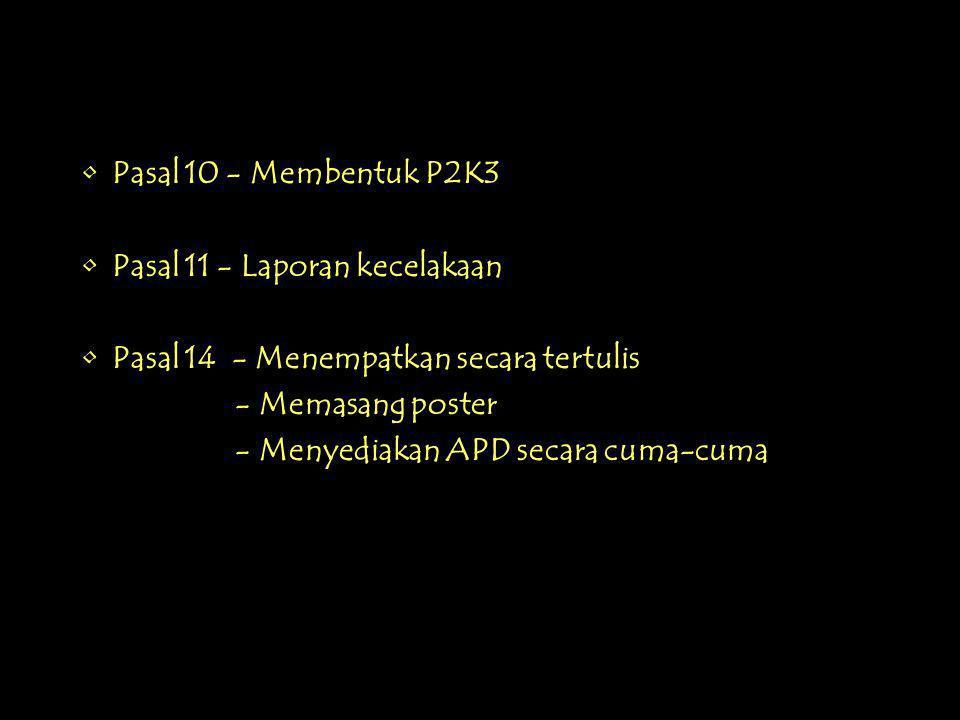 •Pasal 10 - Membentuk P2K3 •Pasal 11 - Laporan kecelakaan •Pasal 14 - Menempatkan secara tertulis - Memasang poster - Menyediakan APD secara cuma-cuma