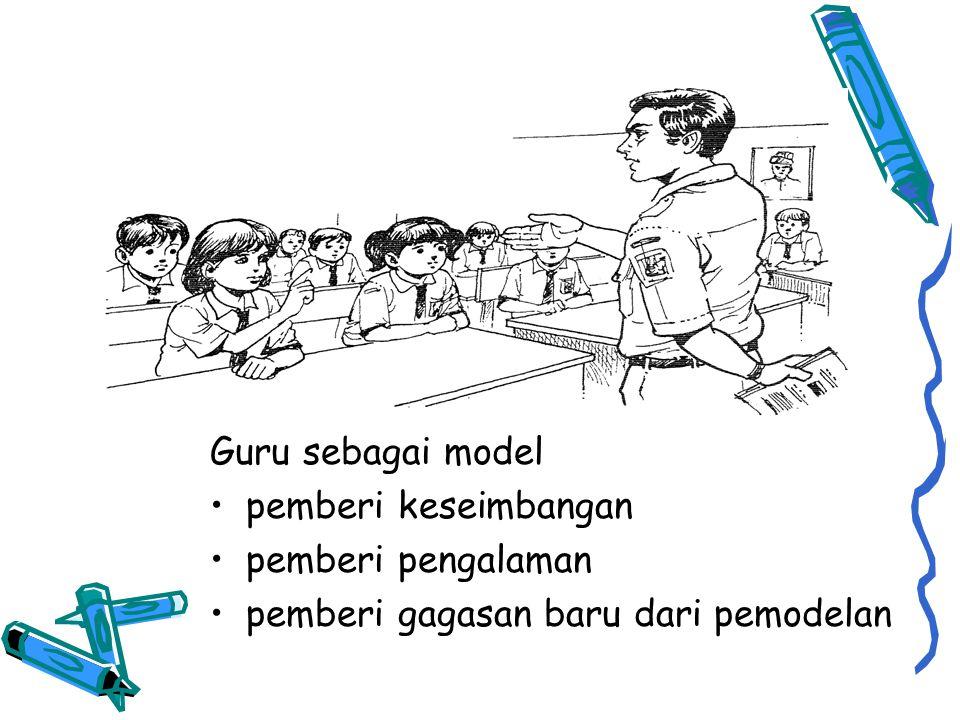 Guru sebagai model •pemberi keseimbangan •pemberi pengalaman •pemberi gagasan baru dari pemodelan