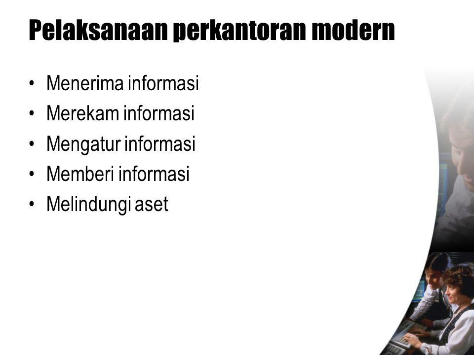 Pelaksanaan perkantoran modern •Menerima informasi •Merekam informasi •Mengatur informasi •Memberi informasi •Melindungi aset