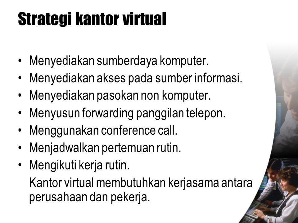 Strategi kantor virtual •Menyediakan sumberdaya komputer. •Menyediakan akses pada sumber informasi. •Menyediakan pasokan non komputer. •Menyusun forwa