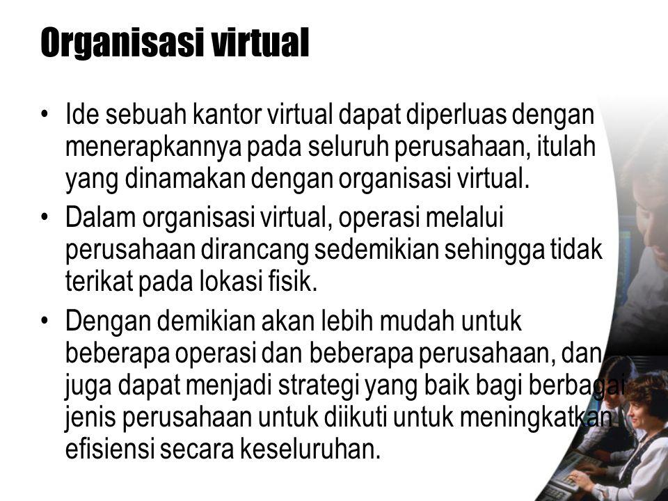 Organisasi virtual •Ide sebuah kantor virtual dapat diperluas dengan menerapkannya pada seluruh perusahaan, itulah yang dinamakan dengan organisasi vi