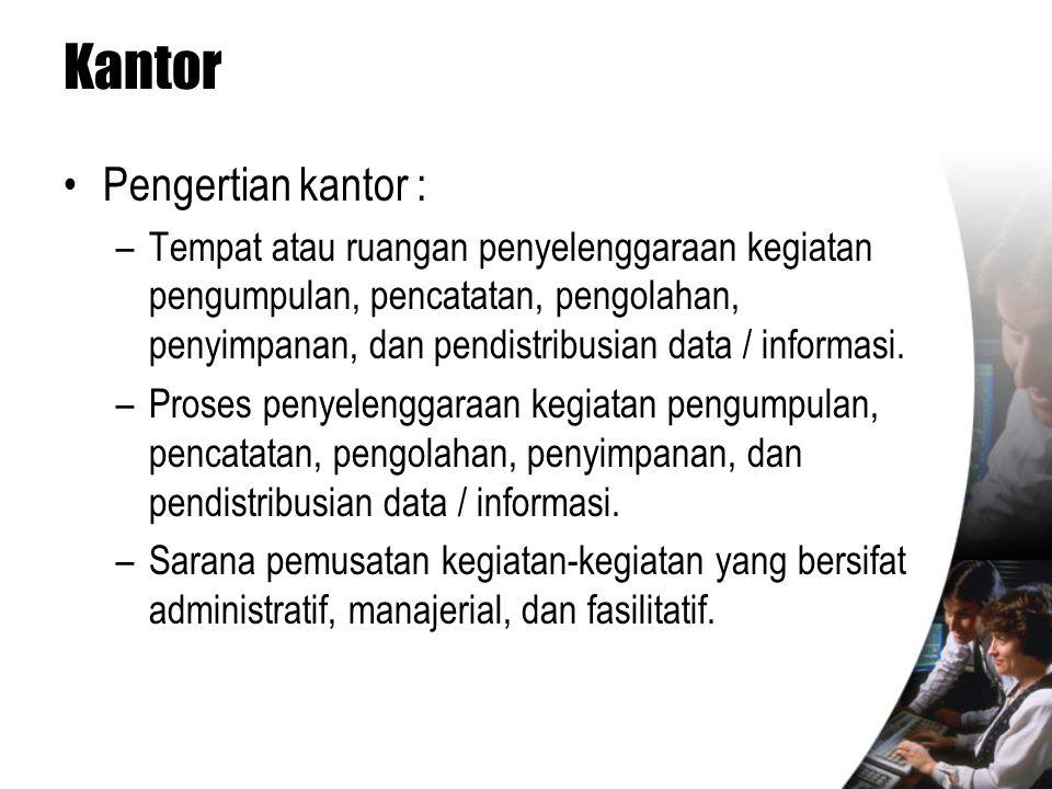 Kantor •Pengertian kantor : –Tempat atau ruangan penyelenggaraan kegiatan pengumpulan, pencatatan, pengolahan, penyimpanan, dan pendistribusian data /