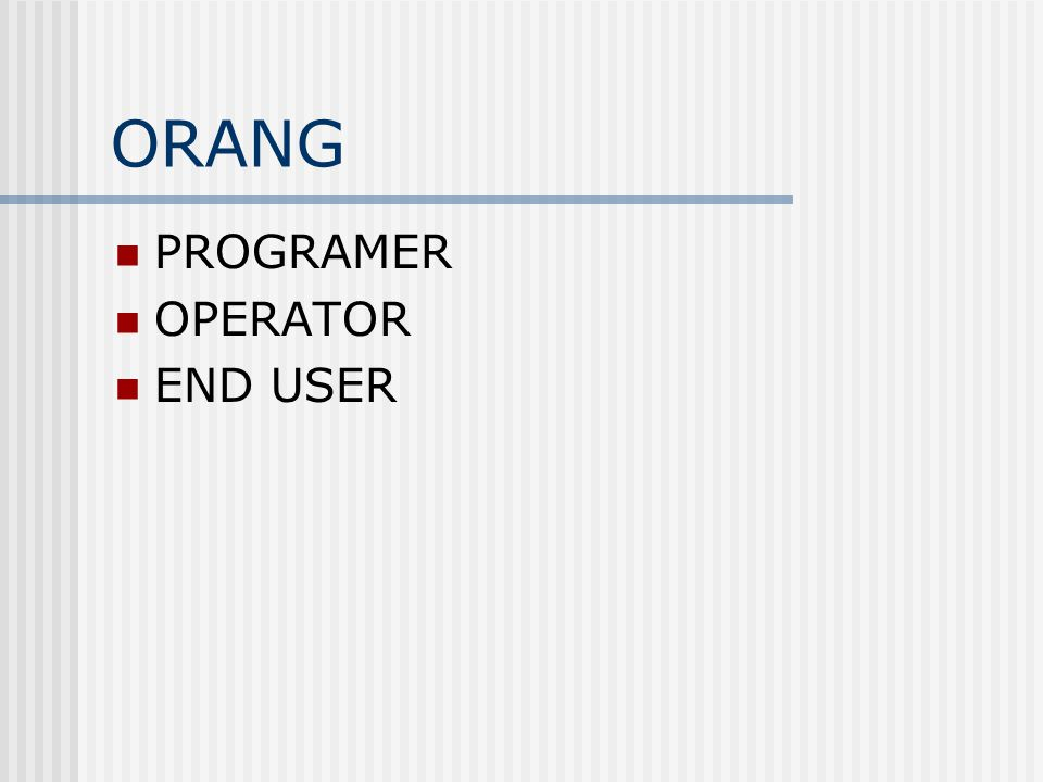 ORANG  PROGRAMER  OPERATOR  END USER
