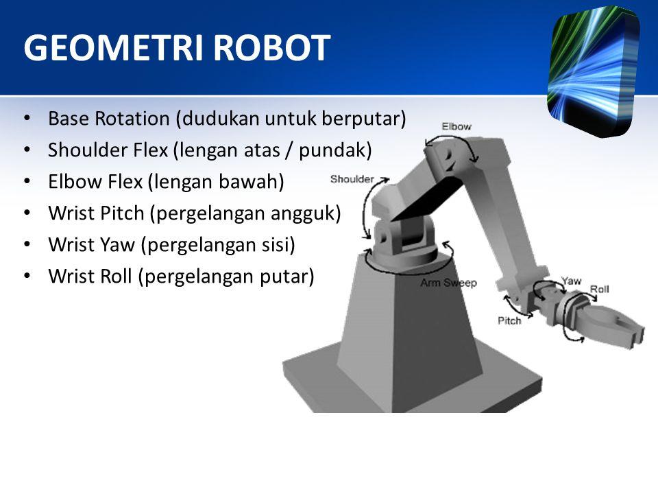 GEOMETRI ROBOT • Base Rotation (dudukan untuk berputar) • Shoulder Flex (lengan atas / pundak) • Elbow Flex (lengan bawah) • Wrist Pitch (pergelangan