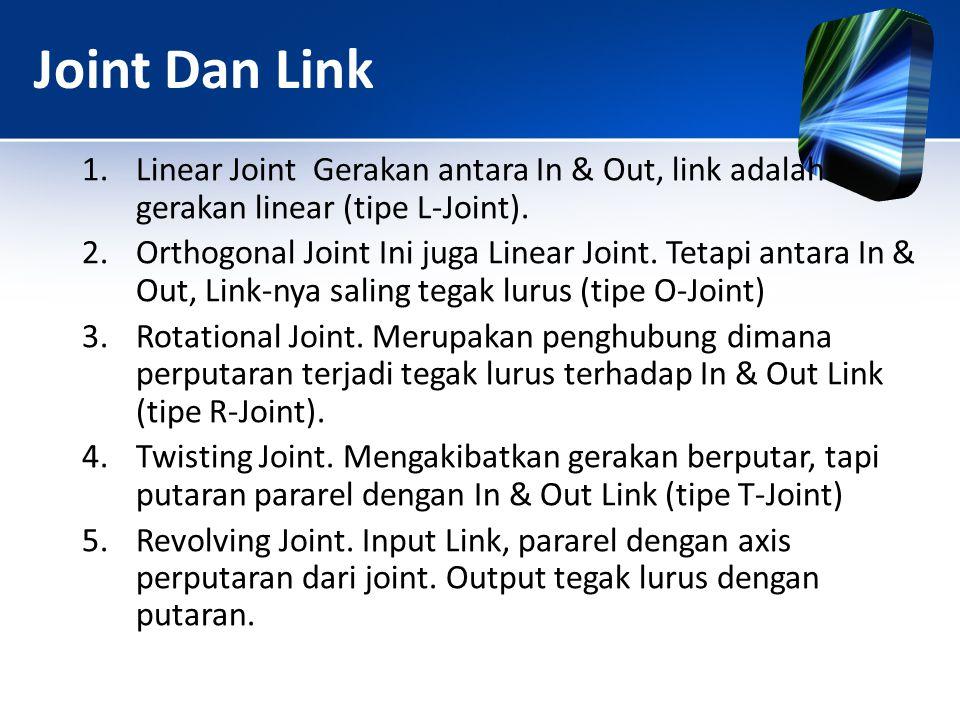 Joint Dan Link 1.Linear Joint Gerakan antara In & Out, link adalah gerakan linear (tipe L-Joint). 2.Orthogonal Joint Ini juga Linear Joint. Tetapi ant