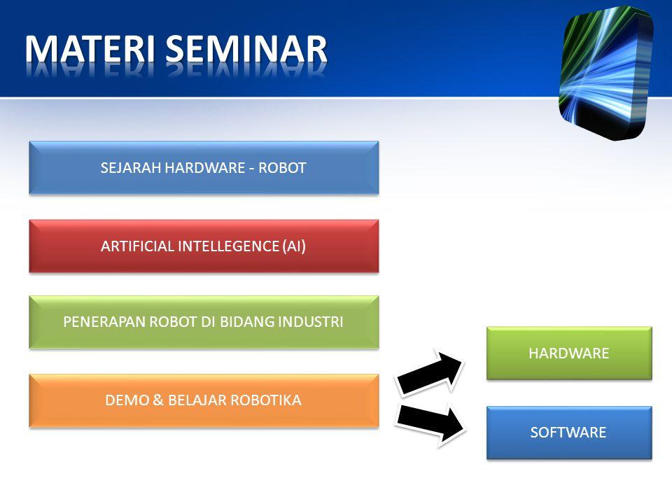SEJARAH HARDWARE - ROBOT PENERAPAN ROBOT DI BIDANG INDUSTRI ARTIFICIAL INTELLEGENCE (AI) DEMO & BELAJAR ROBOTIKA SOFTWARE SOFTWARE HARDWARE HARDWARE