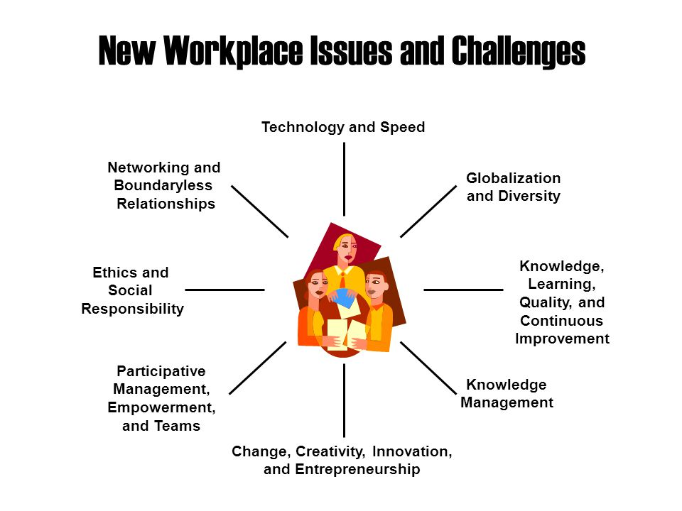 New Workplace Issues and Challenges Technology and Speed Globalization and Diversity Knowledge, Learning, Quality, and Continuous Improvement Change, Creativity, Innovation, and Entrepreneurship Participative Management, Empowerment, and Teams Knowledge Management Ethics and Social Responsibility Networking and Boundaryless Relationships