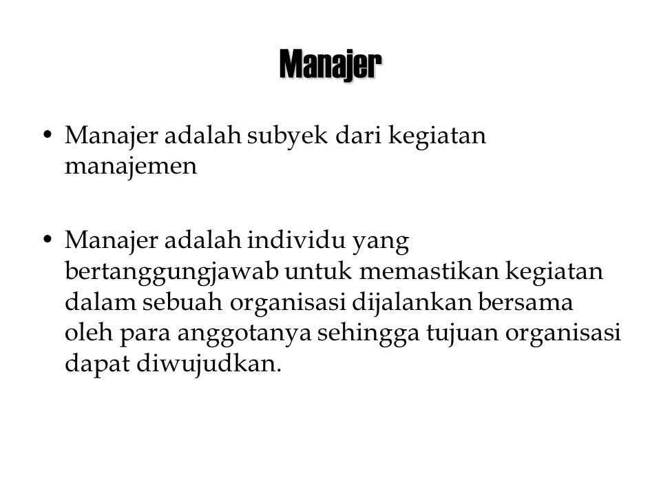 Manajer •Manajer adalah subyek dari kegiatan manajemen •Manajer adalah individu yang bertanggungjawab untuk memastikan kegiatan dalam sebuah organisasi dijalankan bersama oleh para anggotanya sehingga tujuan organisasi dapat diwujudkan.