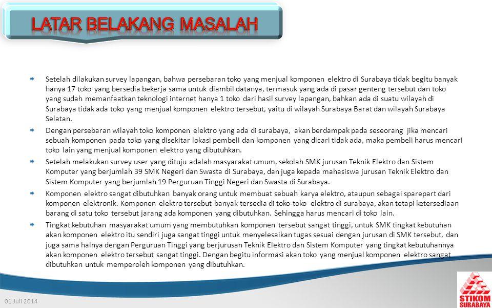 01 Juli 2014 Setelah dilakukan survey lapangan, bahwa persebaran toko yang menjual komponen elektro di Surabaya tidak begitu banyak hanya 17 toko yang bersedia bekerja sama untuk diambil datanya, termasuk yang ada di pasar genteng tersebut dan toko yang sudah memanfaatkan teknologi internet hanya 1 toko dari hasil survey lapangan, bahkan ada di suatu wilayah di Surabaya tidak ada toko yang menjual komponen elektro tersebut, yaitu di wilayah Surabaya Barat dan wilayah Surabaya Selatan.