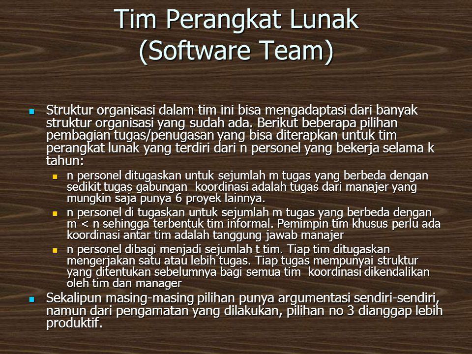 Tim Perangkat Lunak (Software Team)  Struktur organisasi dalam tim ini bisa mengadaptasi dari banyak struktur organisasi yang sudah ada.