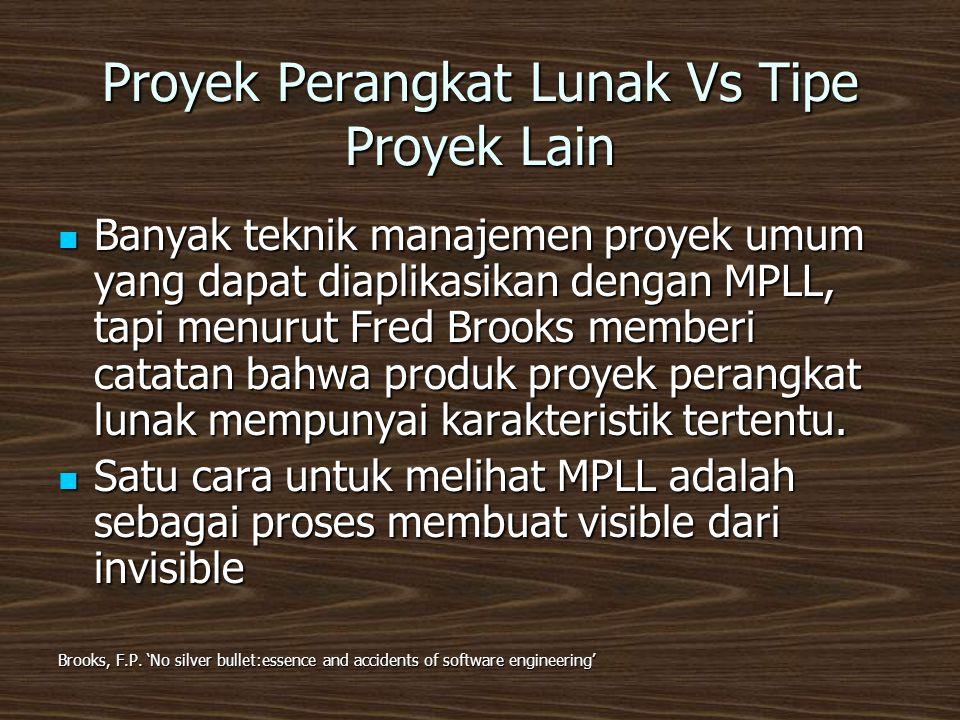 Proyek Perangkat Lunak Vs Tipe Proyek Lain  Banyak teknik manajemen proyek umum yang dapat diaplikasikan dengan MPLL, tapi menurut Fred Brooks memberi catatan bahwa produk proyek perangkat lunak mempunyai karakteristik tertentu.