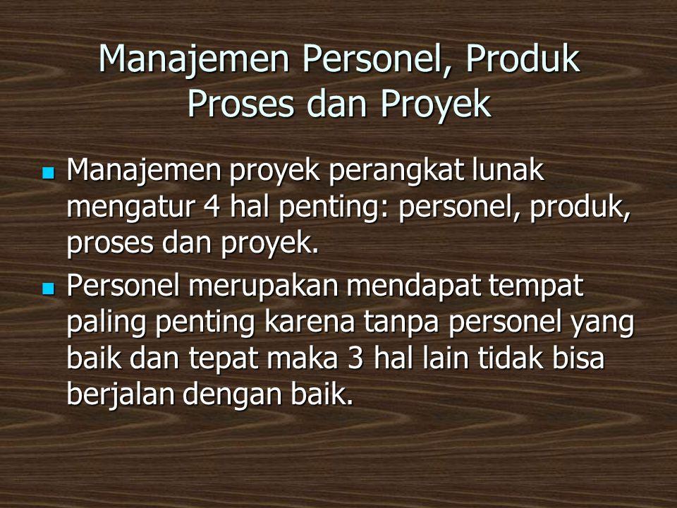 Manajemen Personel, Produk Proses dan Proyek  Manajemen proyek perangkat lunak mengatur 4 hal penting: personel, produk, proses dan proyek.