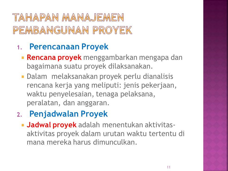 1. Perencanaan Proyek  Rencana proyek menggambarkan mengapa dan bagaimana suatu proyek dilaksanakan.  Dalam melaksanakan proyek perlu dianalisis ren