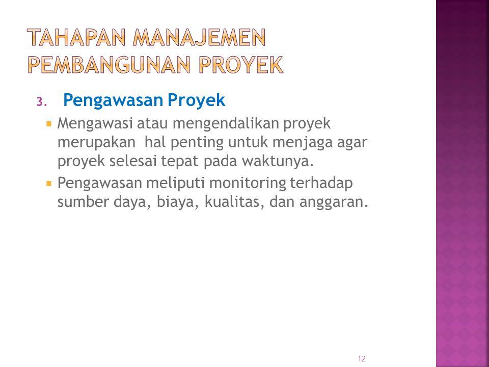 3. Pengawasan Proyek  Mengawasi atau mengendalikan proyek merupakan hal penting untuk menjaga agar proyek selesai tepat pada waktunya.  Pengawasan m