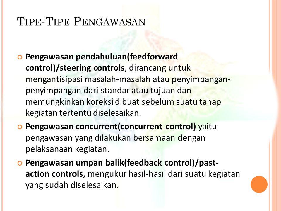 T IPE -T IPE P ENGAWASAN Pengawasan pendahuluan(feedforward control)/steering controls, dirancang untuk mengantisipasi masalah-masalah atau penyimpang