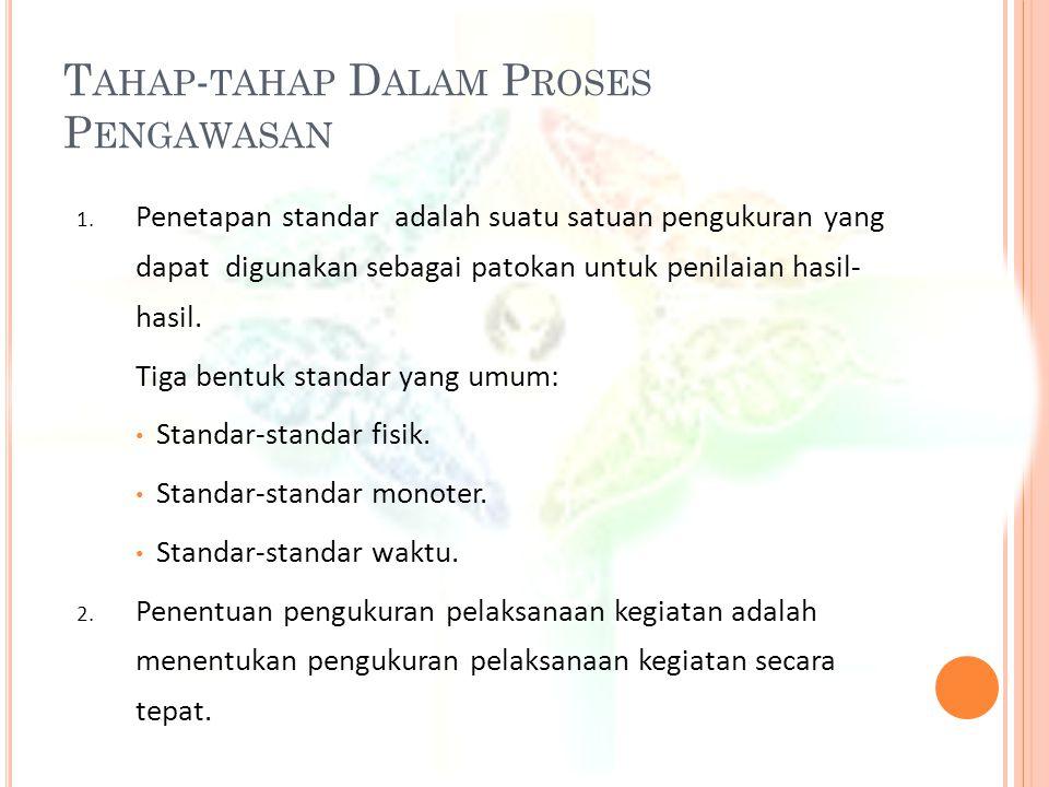 T AHAP - TAHAP D ALAM P ROSES P ENGAWASAN 1. Penetapan standar adalah suatu satuan pengukuran yang dapat digunakan sebagai patokan untuk penilaian has
