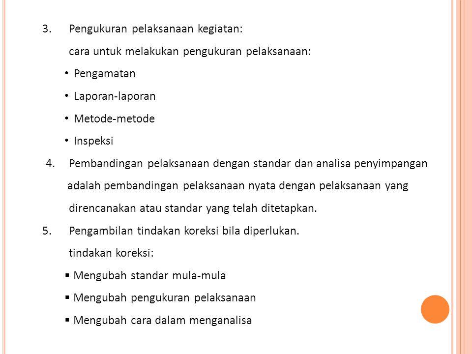 3.Pengukuran pelaksanaan kegiatan: cara untuk melakukan pengukuran pelaksanaan: • Pengamatan • Laporan-laporan • Metode-metode • Inspeksi 4.Pembanding