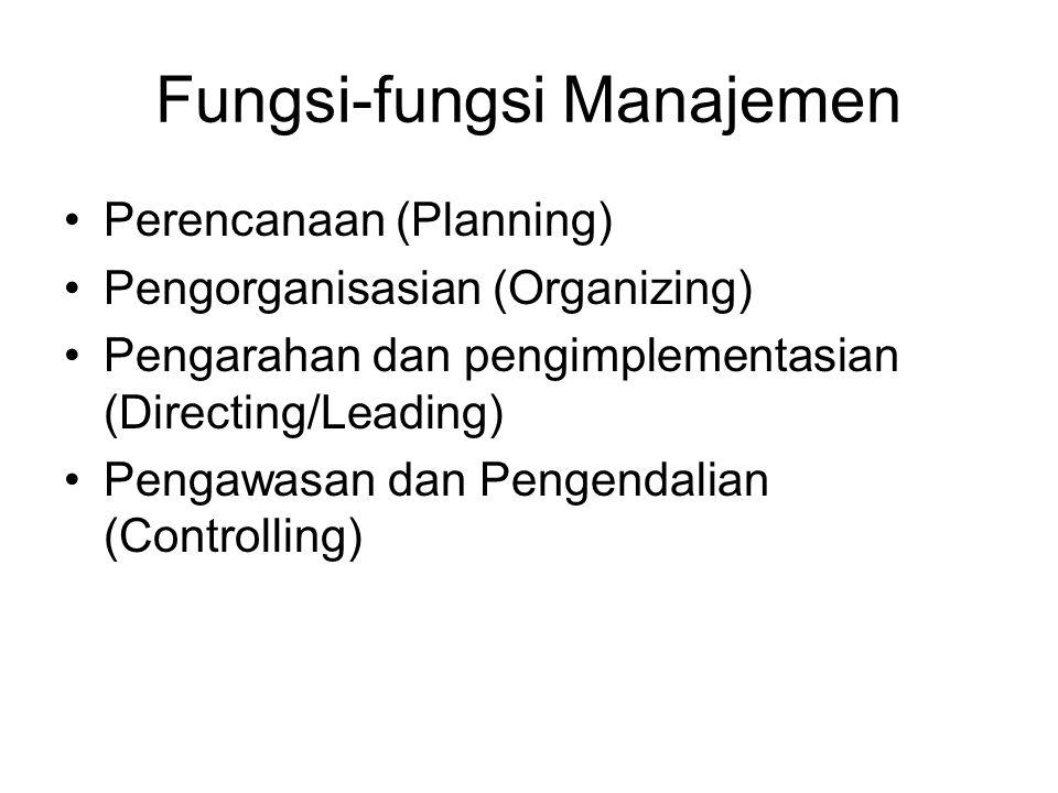 Fungsi-fungsi Manajemen •Perencanaan (Planning) •Pengorganisasian (Organizing) •Pengarahan dan pengimplementasian (Directing/Leading) •Pengawasan dan Pengendalian (Controlling)