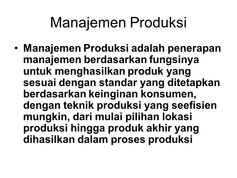 Manajemen Produksi •Manajemen Produksi adalah penerapan manajemen berdasarkan fungsinya untuk menghasilkan produk yang sesuai dengan standar yang ditetapkan berdasarkan keinginan konsumen, dengan teknik produksi yang seefisien mungkin, dari mulai pilihan lokasi produksi hingga produk akhir yang dihasilkan dalam proses produksi