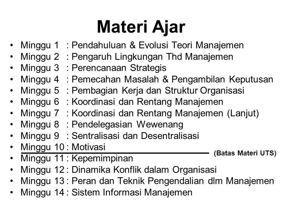Materi Ajar •Minggu 1: Pendahuluan & Evolusi Teori Manajemen •Minggu 2: Pengaruh Lingkungan Thd Manajemen •Minggu 3: Perencanaan Strategis •Minggu 4: Pemecahan Masalah & Pengambilan Keputusan •Minggu 5: Pembagian Kerja dan Struktur Organisasi •Minggu 6: Koordinasi dan Rentang Manajemen •Minggu 7: Koordinasi dan Rentang Manajemen (Lanjut) •Minggu 8: Pendelegasian Wewenang •Minggu 9: Sentralisasi dan Desentralisasi •Minggu 10: Motivasi •Minggu 11: Kepemimpinan •Minggu 12: Dinamika Konflik dalam Organisasi •Minggu 13: Peran dan Teknik Pengendalian dlm Manajemen •Minggu 14: Sistem Informasi Manajemen (Batas Materi UTS)