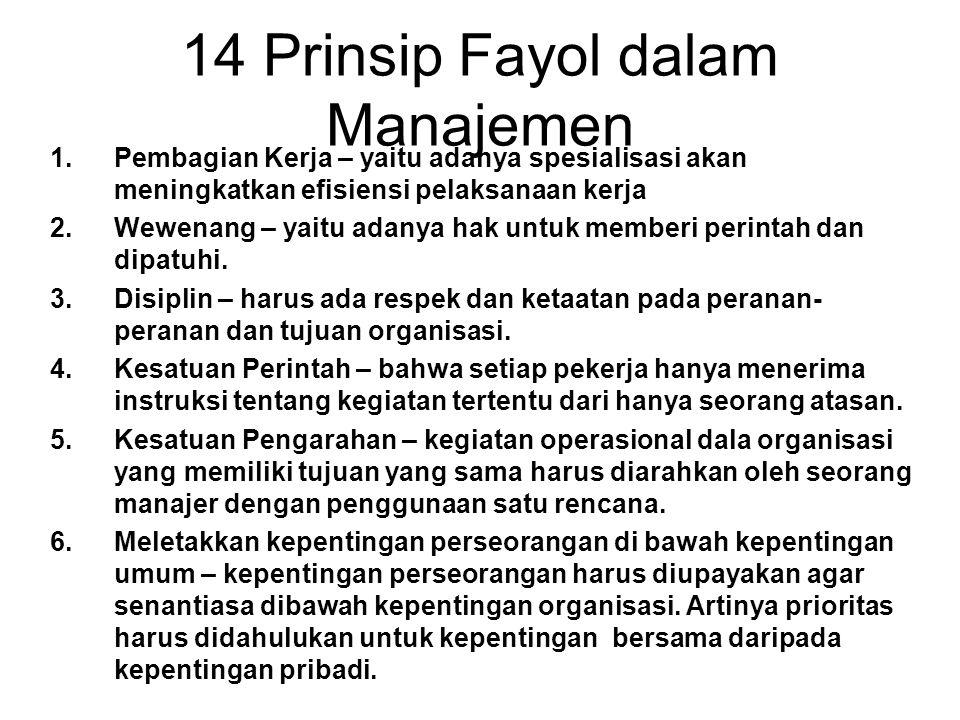 14 Prinsip Fayol dalam Manajemen 1.Pembagian Kerja – yaitu adanya spesialisasi akan meningkatkan efisiensi pelaksanaan kerja 2.Wewenang – yaitu adanya hak untuk memberi perintah dan dipatuhi.