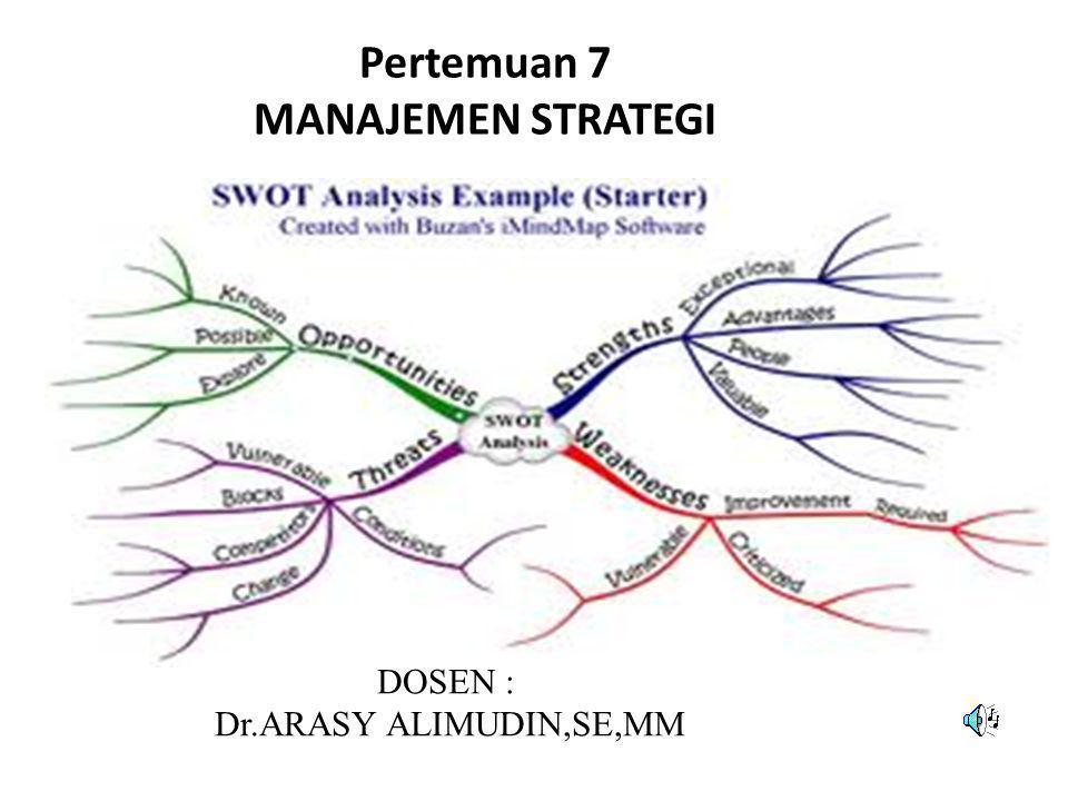 DIAGRAM DAN MATRIK SWOT A.Pokok Bahasan dan Sub Pokok Bahasan • Diagram SWOT • Pencarian skala prioritas • Analisis Portfolio