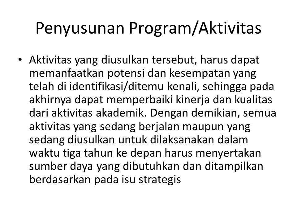 Penyusunan Program/Aktivitas • Aktivitas yang diusulkan tersebut, harus dapat memanfaatkan potensi dan kesempatan yang telah di identifikasi/ditemu kenali, sehingga pada akhirnya dapat memperbaiki kinerja dan kualitas dari aktivitas akademik.