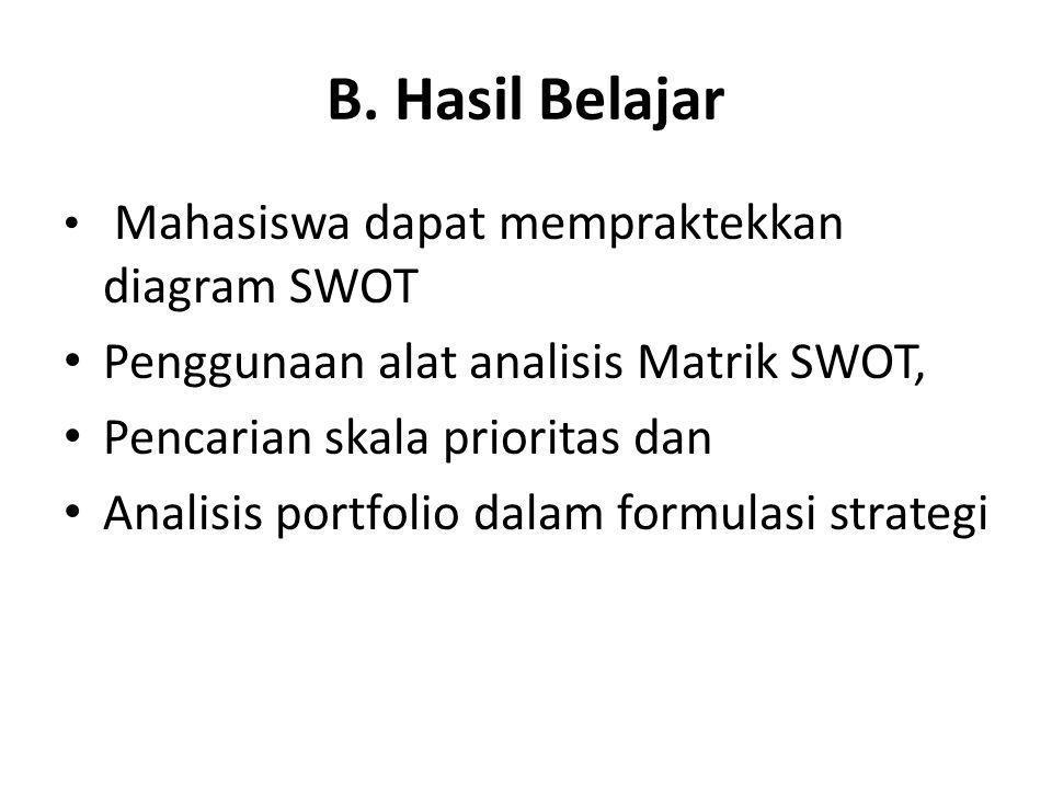 B. Hasil Belajar • Mahasiswa dapat mempraktekkan diagram SWOT • Penggunaan alat analisis Matrik SWOT, • Pencarian skala prioritas dan • Analisis portf