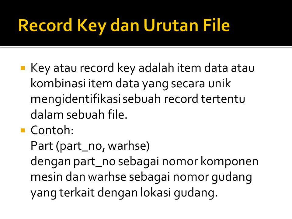 Key atau record key adalah item data atau kombinasi item data yang secara unik mengidentifikasi sebuah record tertentu dalam sebuah file.  Contoh: