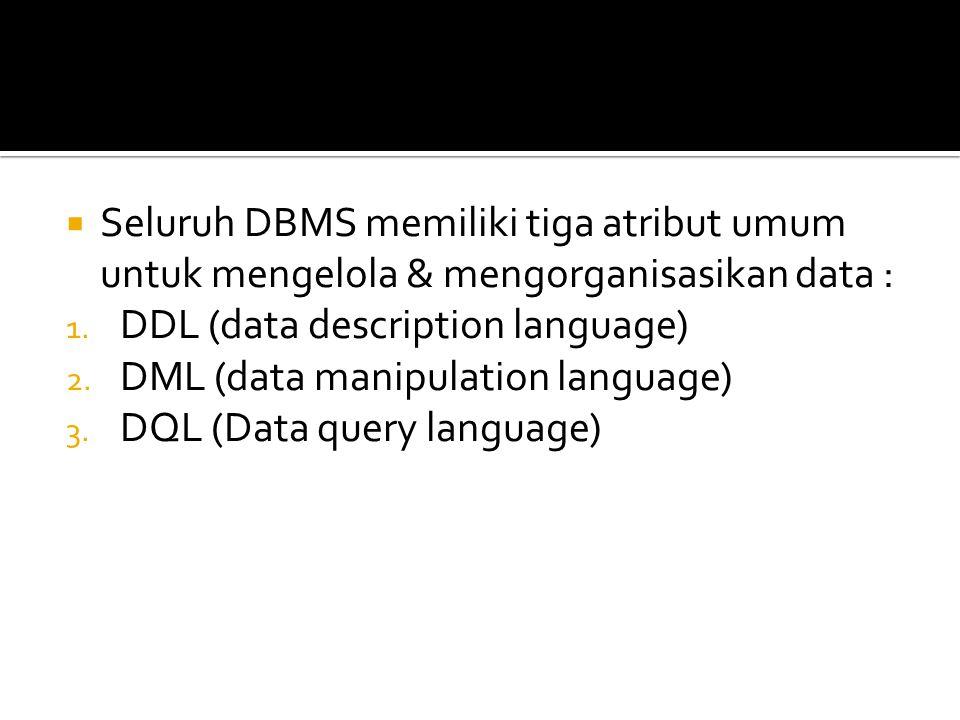  Seluruh DBMS memiliki tiga atribut umum untuk mengelola & mengorganisasikan data : 1. DDL (data description language) 2. DML (data manipulation lang