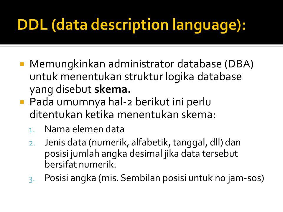  Memungkinkan administrator database (DBA) untuk menentukan struktur logika database yang disebut skema.  Pada umumnya hal-2 berikut ini perlu diten